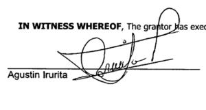 Agustin Irurita Perez signature and button