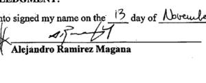 Alejandro Ramirez Magana signature and button