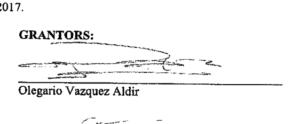 Olegario Vazquez Aldir signature and button